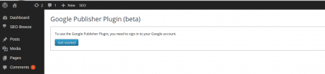 Google Publisher Plugin Screen Shot for WordPress