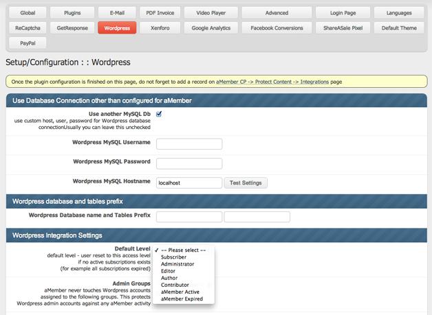 aMember WordPress Integration