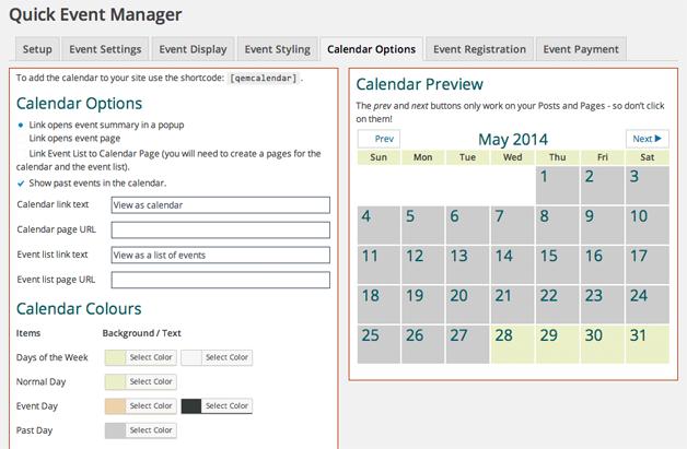 WordPress Event Management Plugins Calendar Options