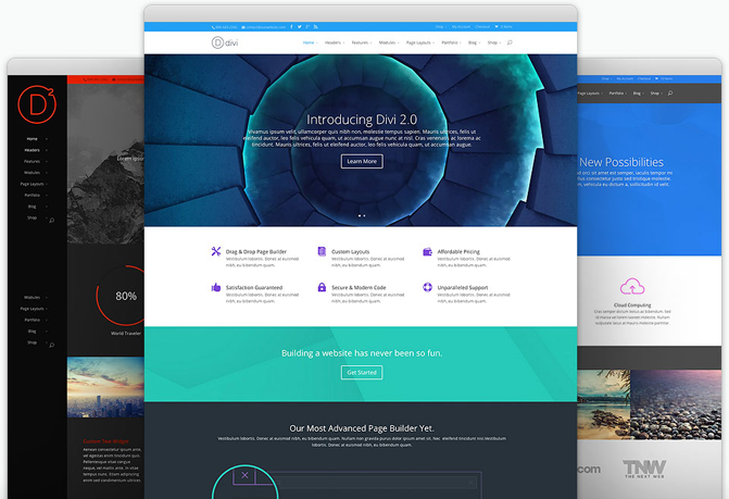 Divi 2 Elegant Themes Example Layouts