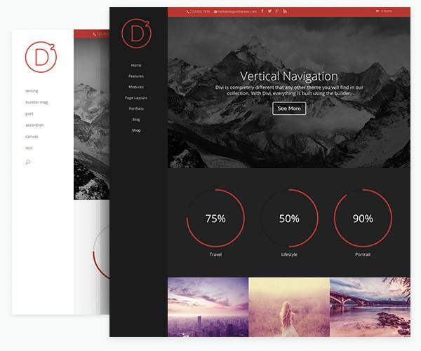 Vertical Navigation in elegant themes divi 2.0 wordpress theme