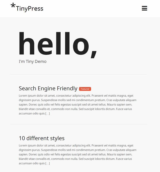 TinyPress WordPress Theme