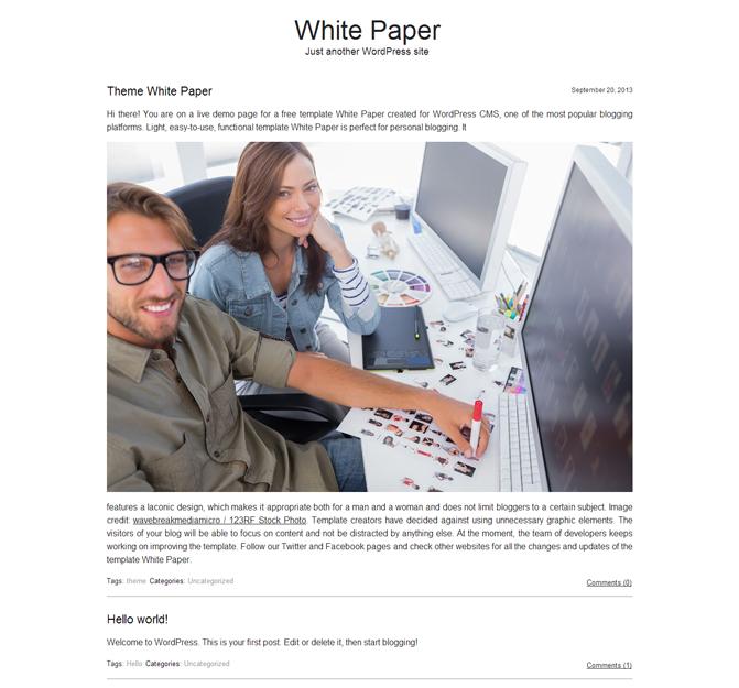 White Paper WordPress Theme