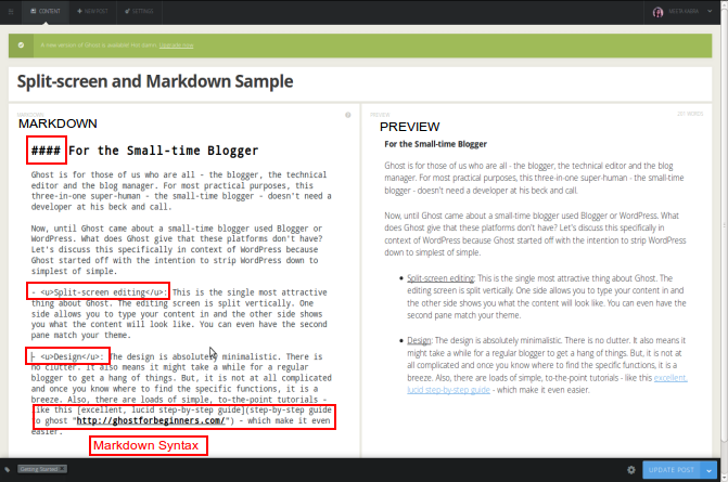 Ghost Split-screen and Markdown Samples
