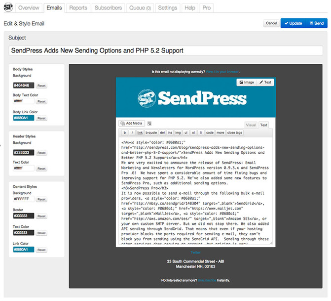 Sending newsletters with WordPress