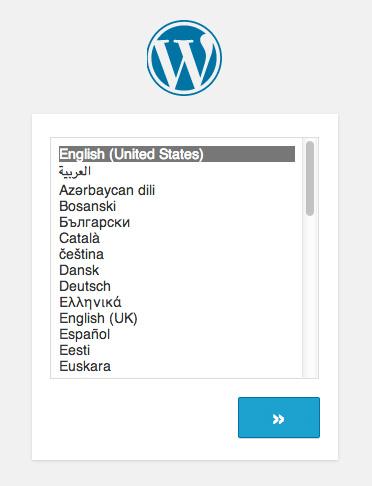 Select WordPress Installation Language