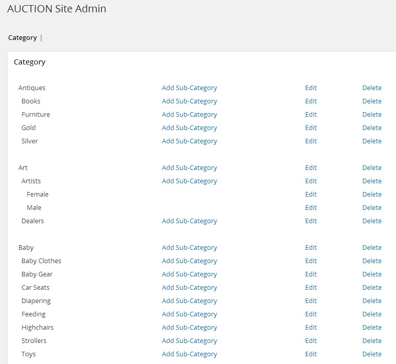 WPAuctionSoftware Categories