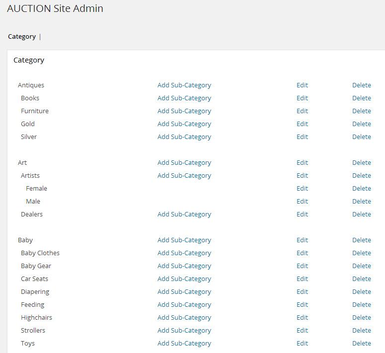 WPAuctionSoftware Categories