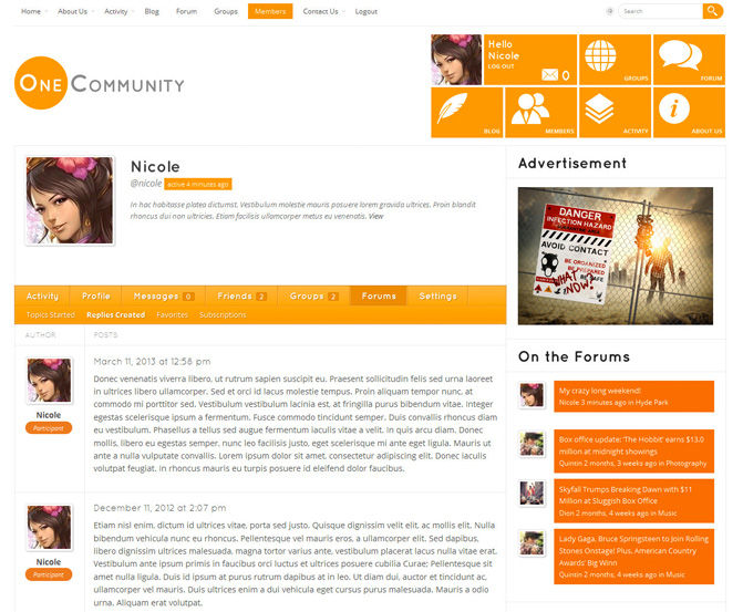 Great BuddyPress Themes-onecommunity1