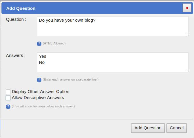 SurveyFunnel Premium WordPress Plugin add_question