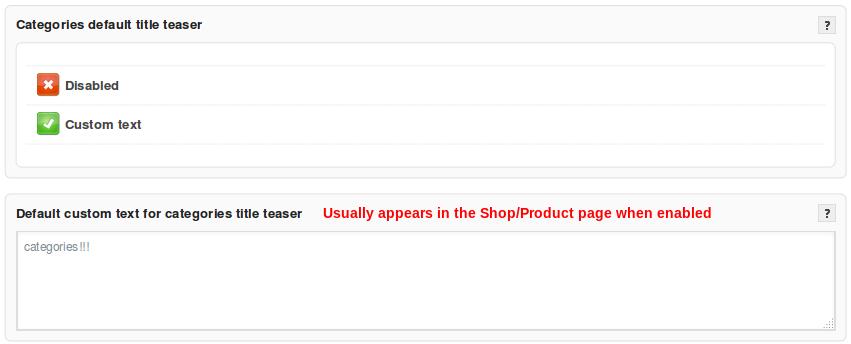 default custom categories title.