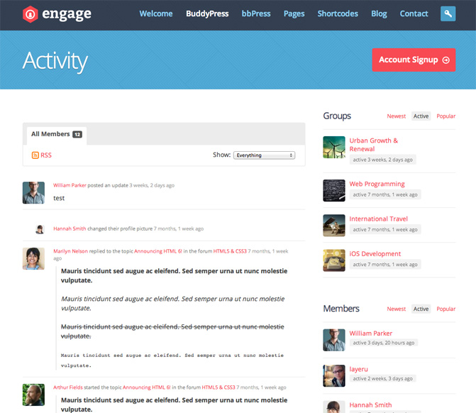 Engage BuddyPress Theme