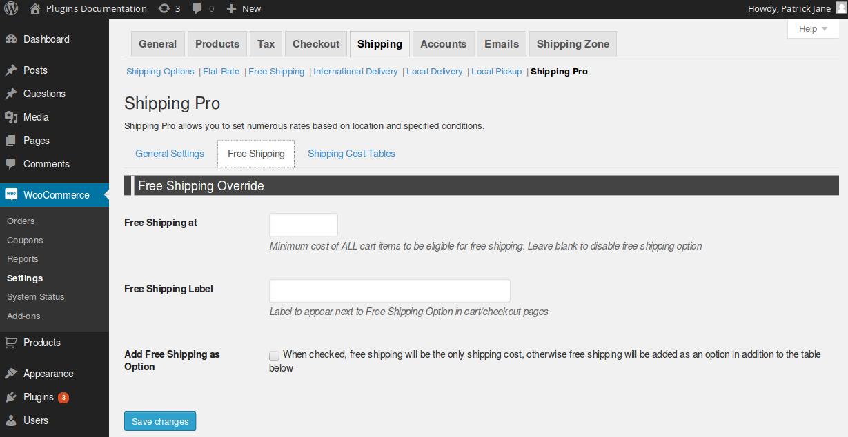 shipping pro free shipping settings