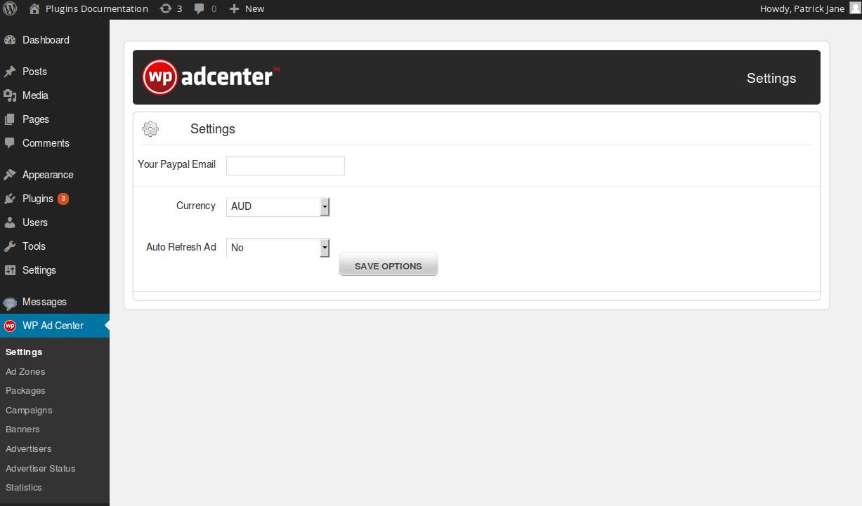 wp adcenter dashboard