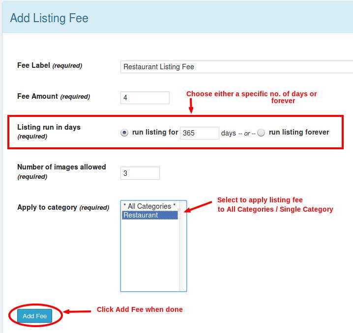 Add listing fee