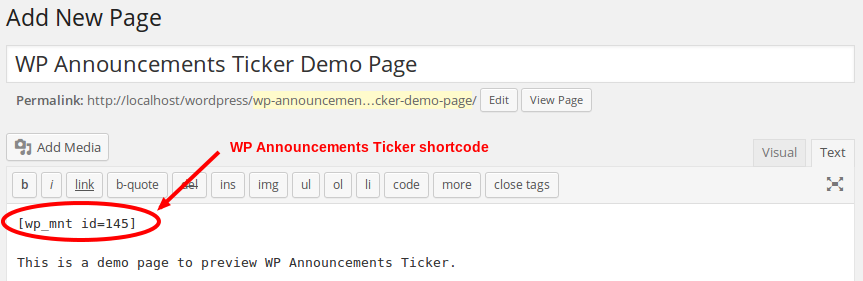 Announcements Ticker - Shortcode on page