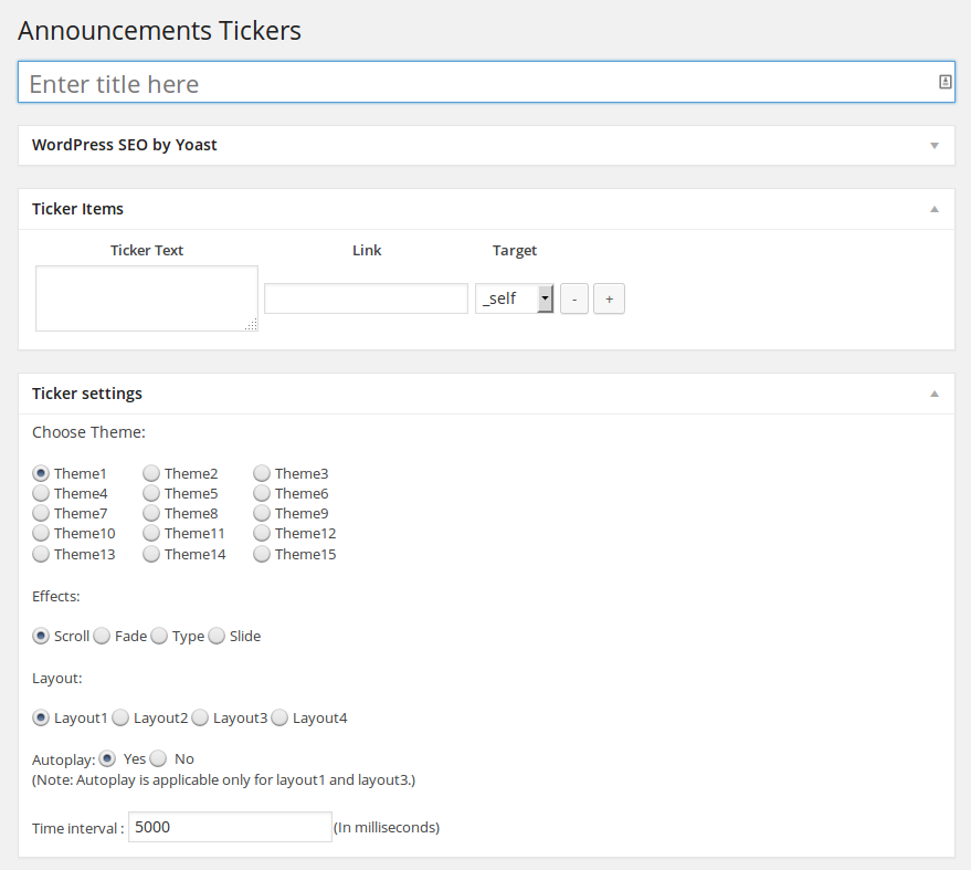 Announcements Tickers - Add New