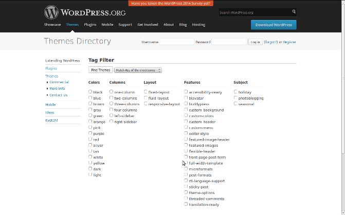 WordPress Themes filters options