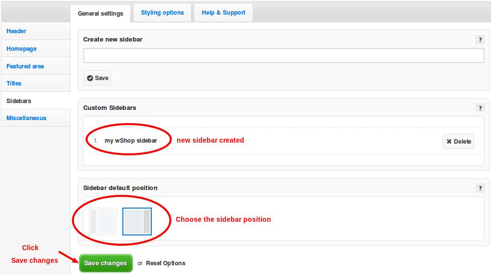 sidebars general settings changed