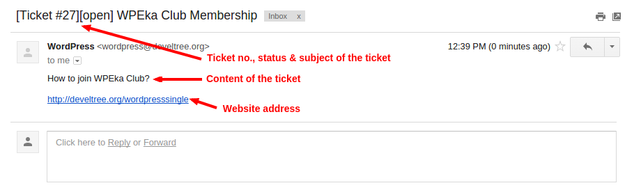 WP Support Helpdesk - Ticket email to user