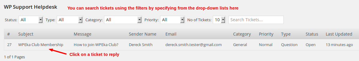 WP Support Helpdesk - all tickets