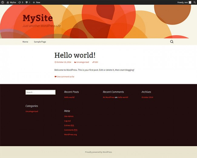 WordPress Theme Header and Footer page1