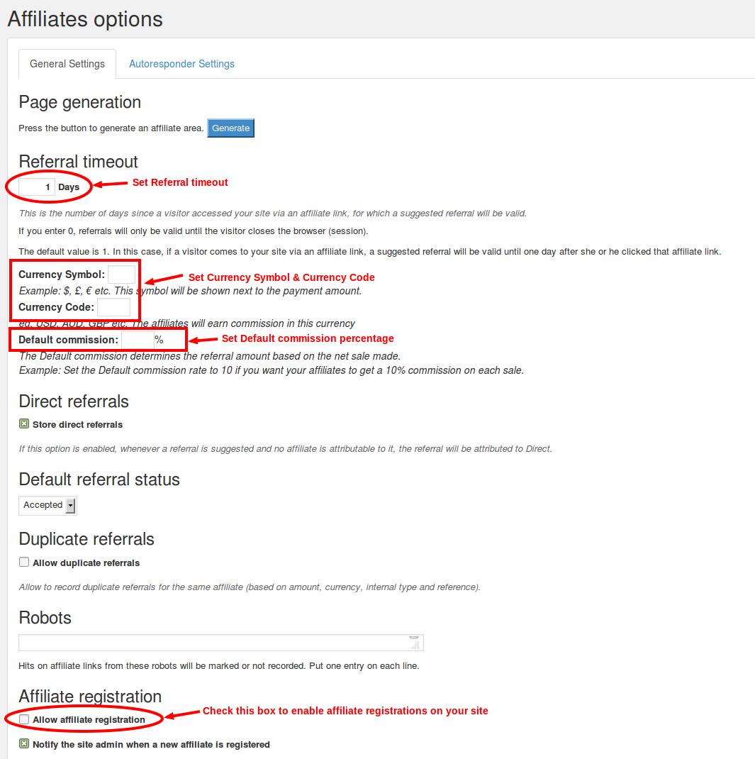 Affiliates options - modify
