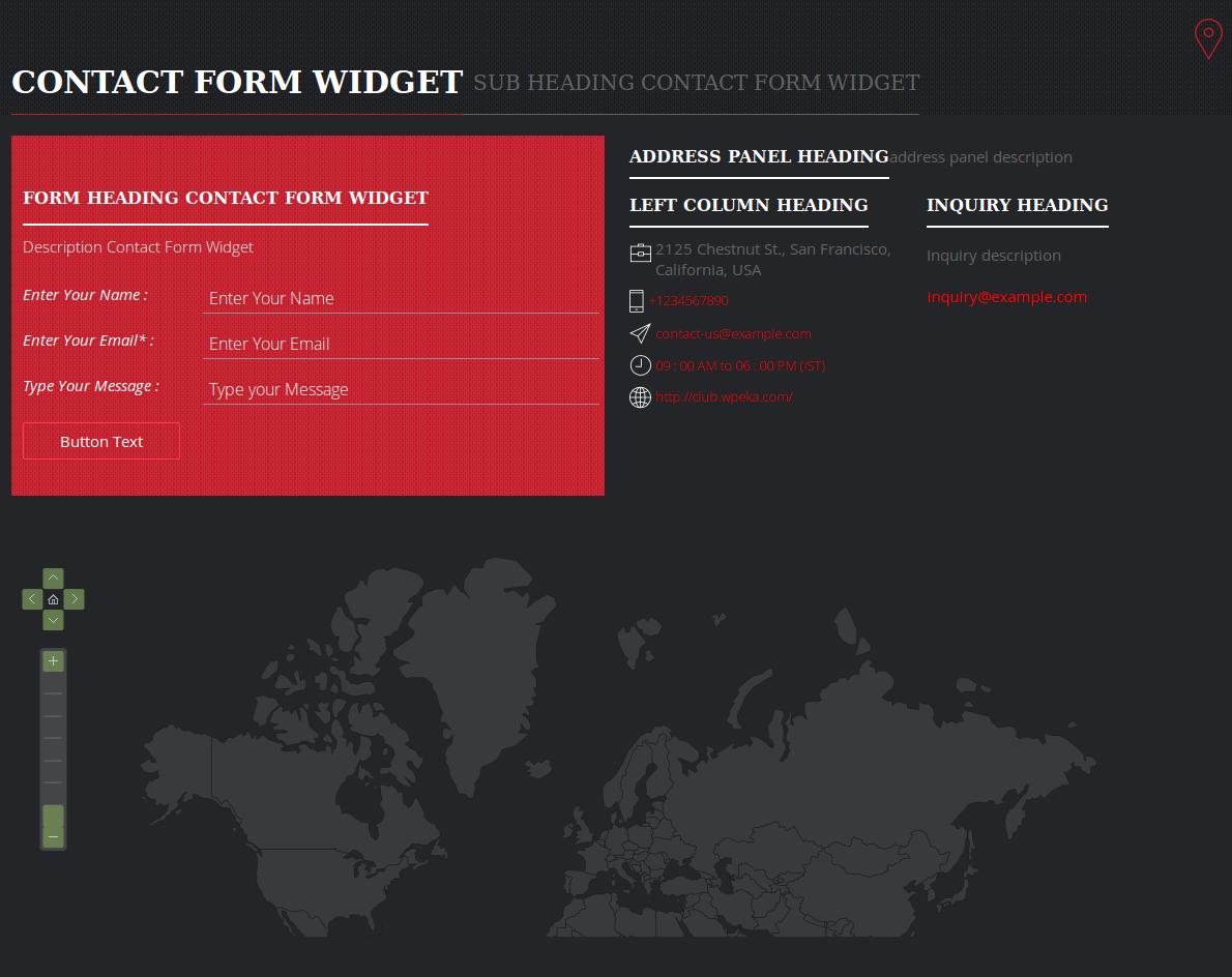 Contact form - Widget