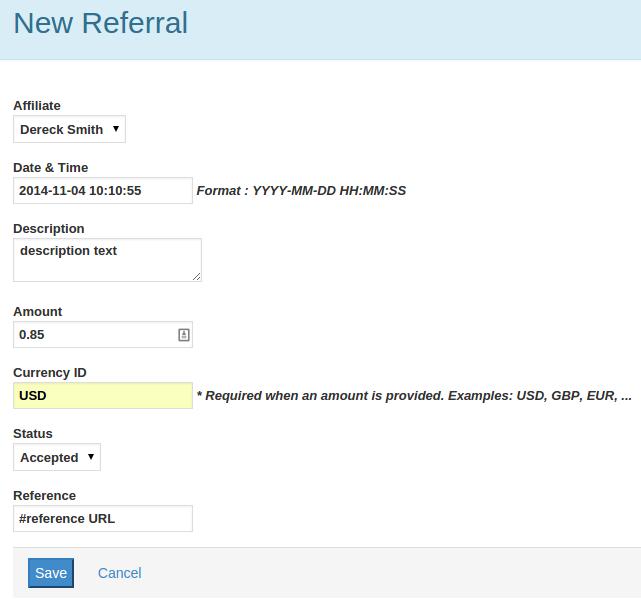 Referrals - Add new referral