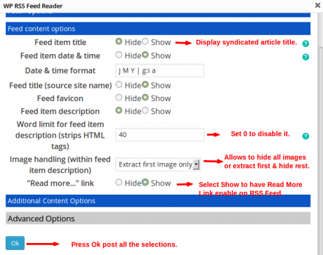 Feed Content Options RSS