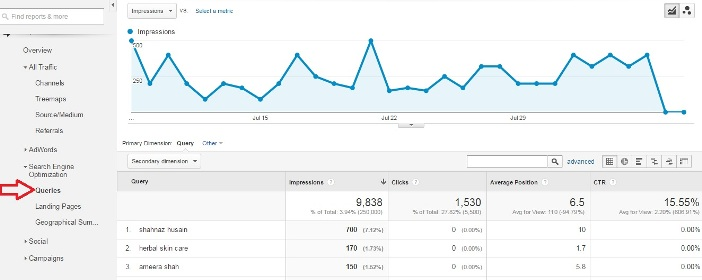 Search Queries In Google Analytics