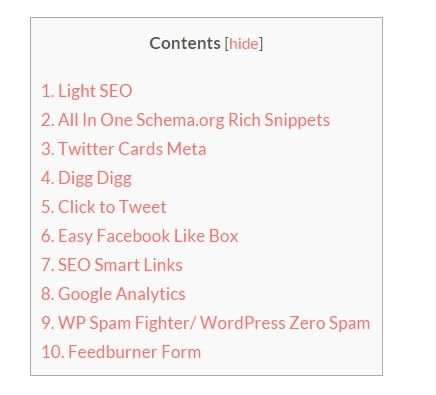WordPress Plugins TOC