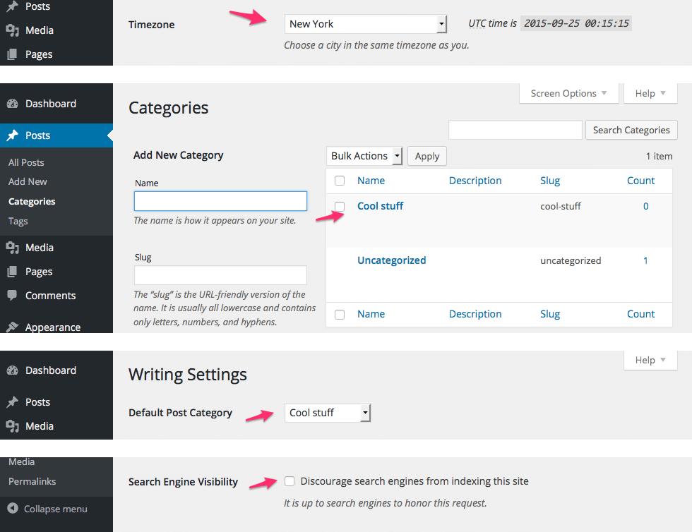 Default settings