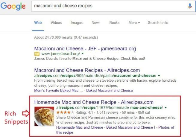 Google recipe search