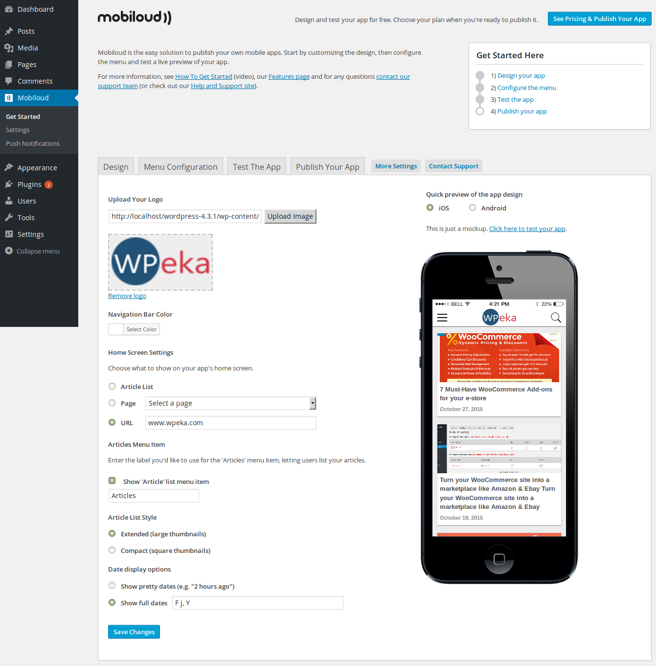 WordPress site into Android and iOS apps Mobiloud - Get Started