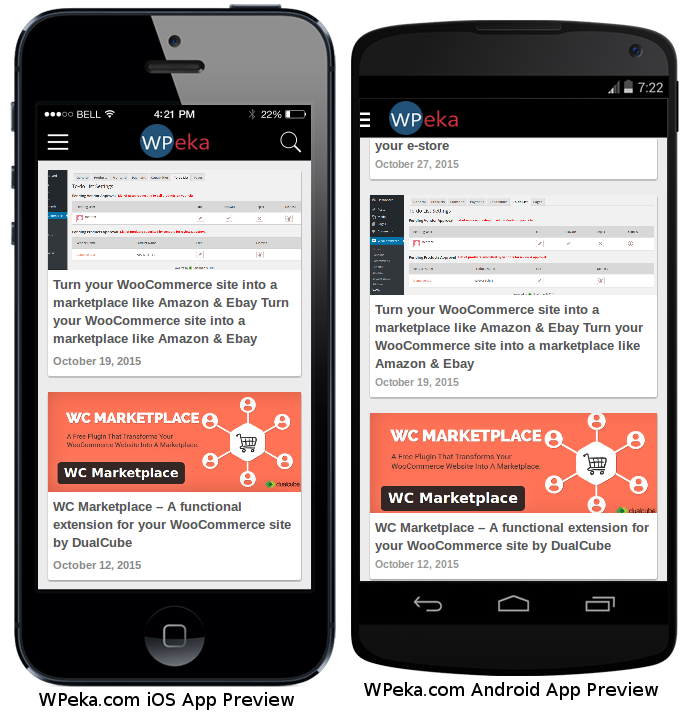 WordPress site into Android and iOS apps preview