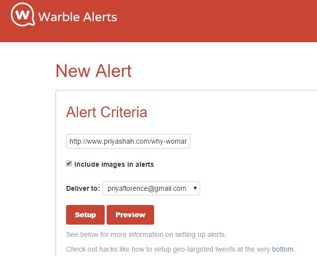 Warble Alert Setup