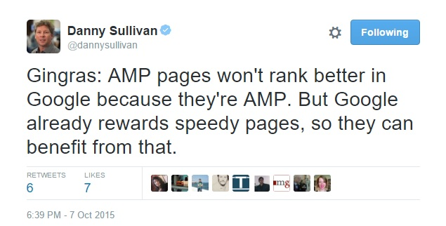 Danny Sullivan AMP tweet