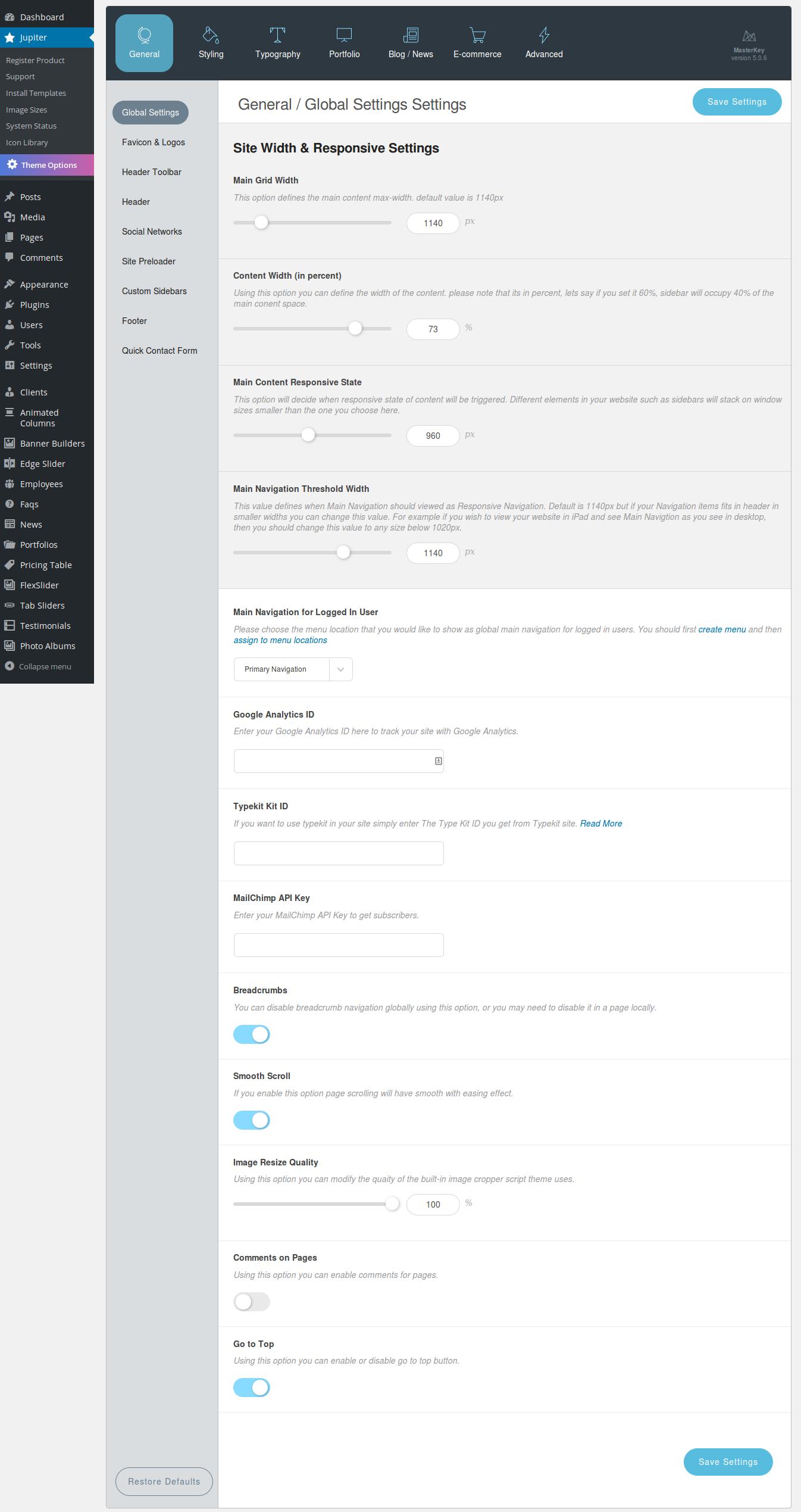 WordPress theme Configuring