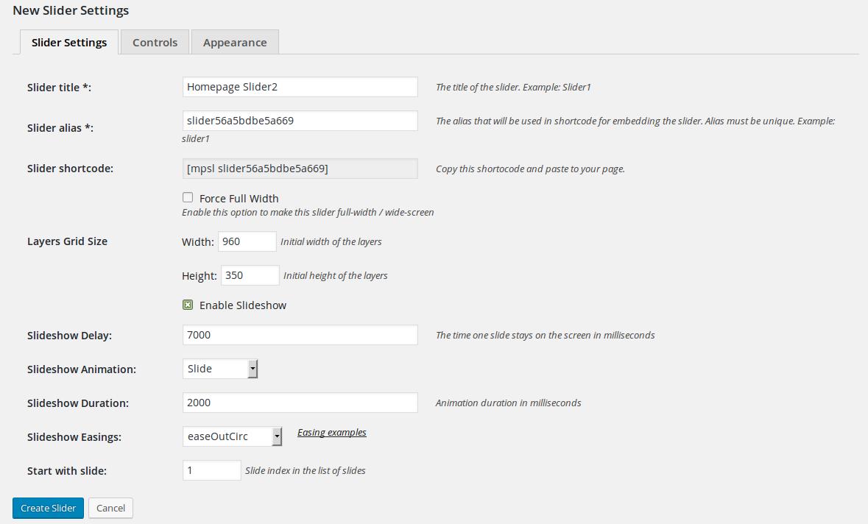 MotoPress Slider - New Slider Settings