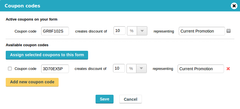 super-powered forms & engaging surveys CaptainForm - Add Coupon Codes