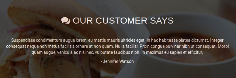 Cordon Bleu restaurant theme in wordpress - Callout Element for Customer Reviews