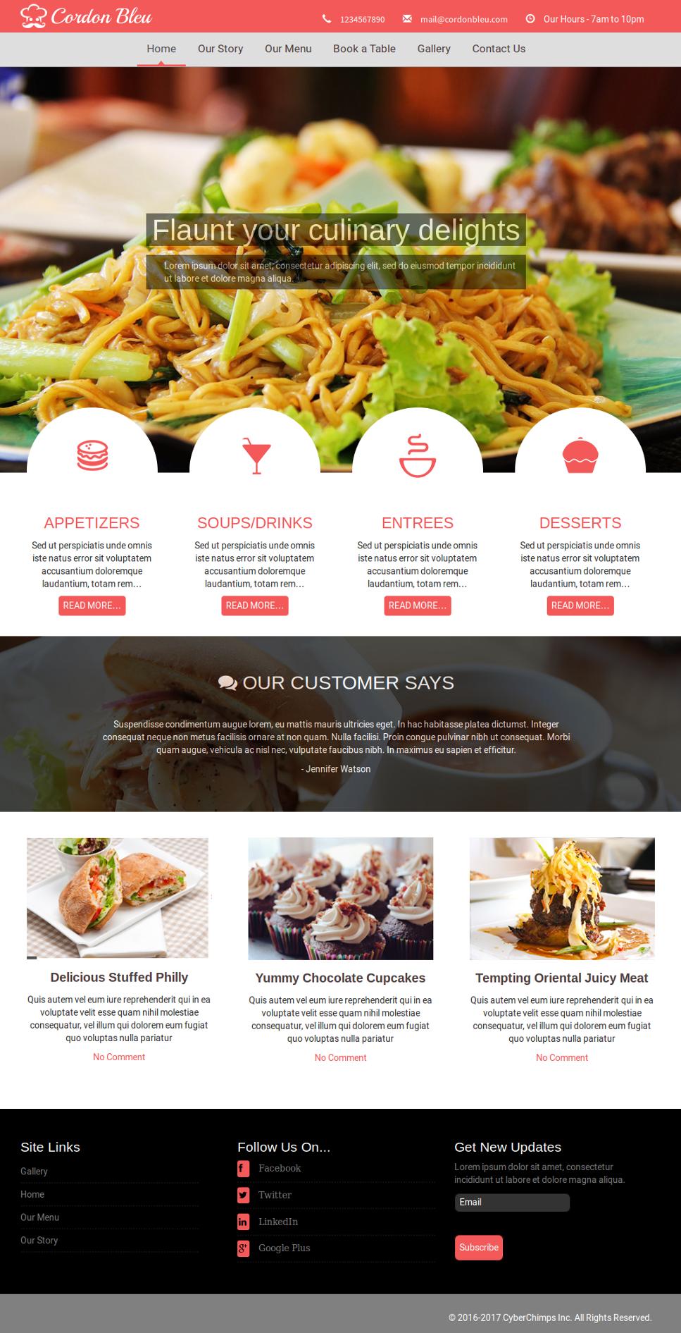 Cordon Bleu Premium Restaurant WordPress Theme by CyberChimps