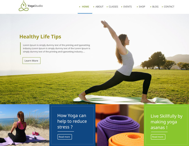 One Page PSD Yoga Template - web design tools