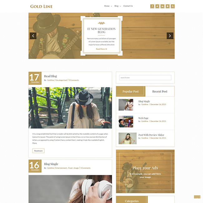 GoldLine Light - A Great Theme - web design tools