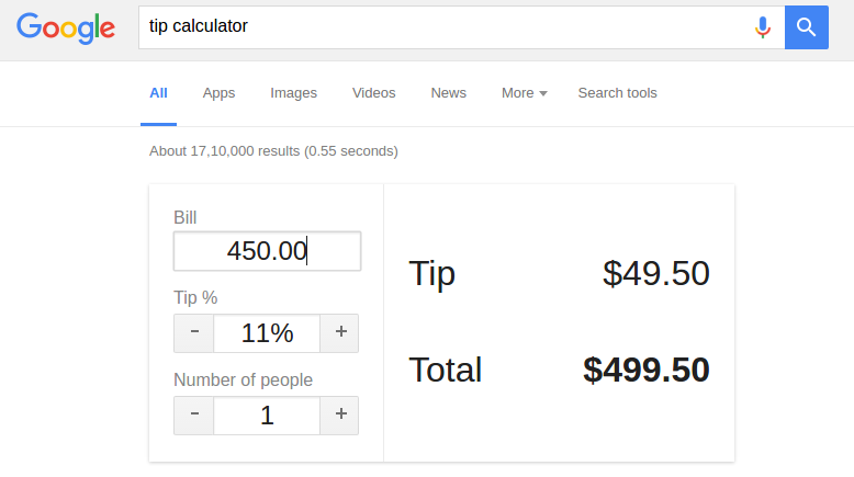 advanced google search tricks -Tip Calculator