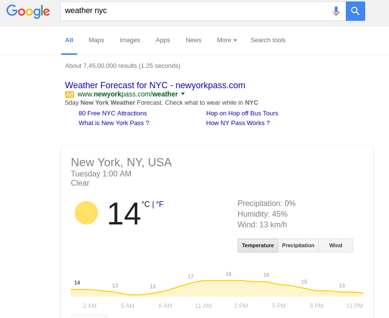 advanced google search tips - Weather