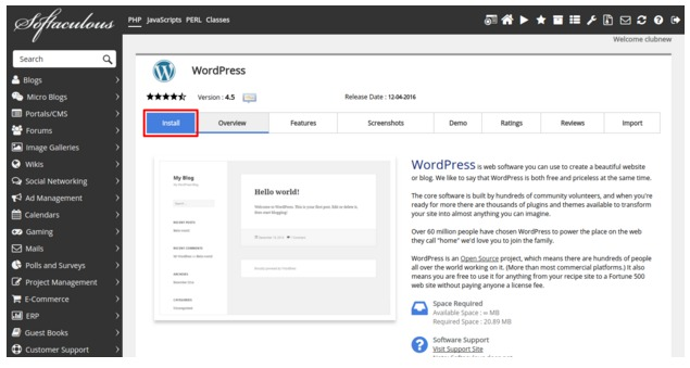 How to Install WordPress using Softaculous