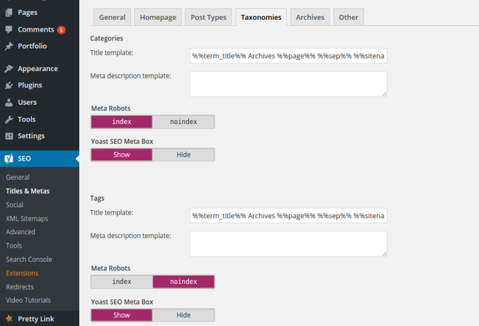 yoast taxonomies