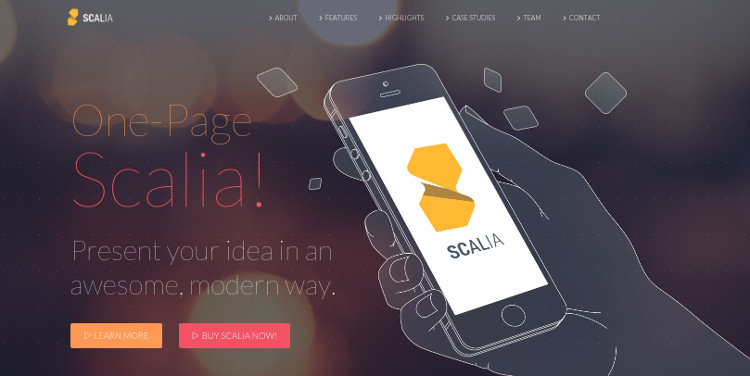 scalia one page wordpress theme